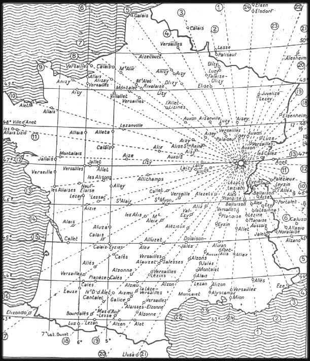 carte lignes telluriques france Alignements de sites sacrés de la Terre